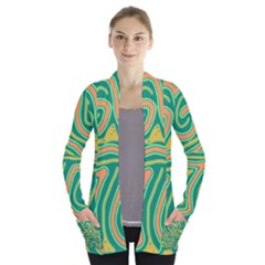 Green And Orange Lines Women s Open Front Pockets Cardigan(p194)