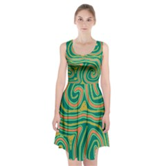 Green and orange lines Racerback Midi Dress