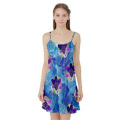 Purple Flowers Satin Night Slip