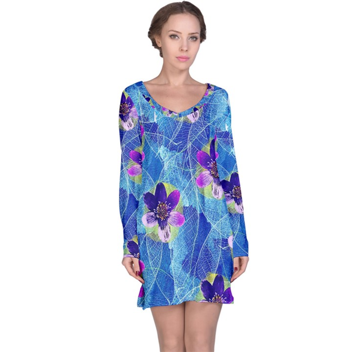 Purple Flowers Long Sleeve Nightdress