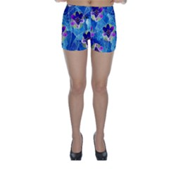 Purple Flowers Skinny Shorts