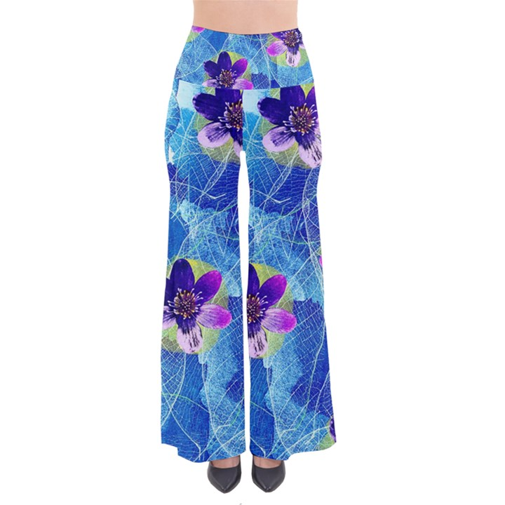 Purple Flowers Women s Chic Palazzo Pants