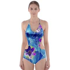 Purple Flowers Cut Out One Piece Swimsuit