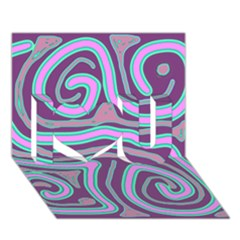 Purple lines I Love You 3D Greeting Card (7x5)
