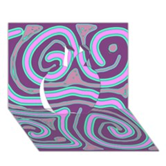 Purple lines Apple 3D Greeting Card (7x5)