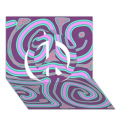 Purple lines Peace Sign 3D Greeting Card (7x5)