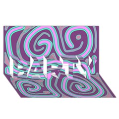 Purple lines PARTY 3D Greeting Card (8x4)