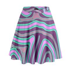 Purple lines High Waist Skirt