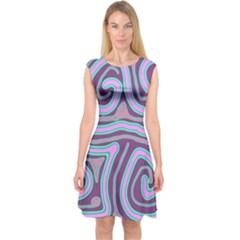 Purple lines Capsleeve Midi Dress