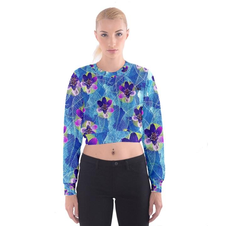 Purple Flowers Women s Cropped Sweatshirt