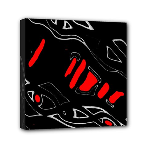 Black and red artistic abstraction Mini Canvas 6  x 6