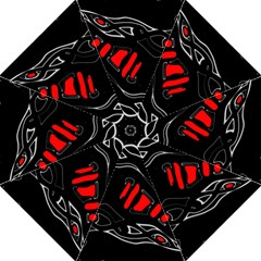 Black and red artistic abstraction Hook Handle Umbrellas (Medium)