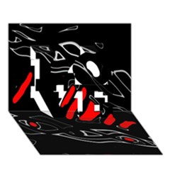 Black and red artistic abstraction LOVE 3D Greeting Card (7x5)