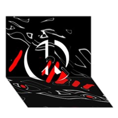 Black and red artistic abstraction Peace Sign 3D Greeting Card (7x5)