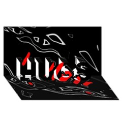 Black and red artistic abstraction HUGS 3D Greeting Card (8x4)