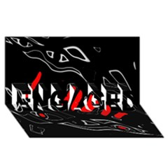 Black and red artistic abstraction ENGAGED 3D Greeting Card (8x4)