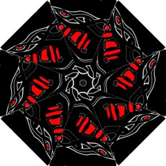 Black and red artistic abstraction Hook Handle Umbrellas (Small)