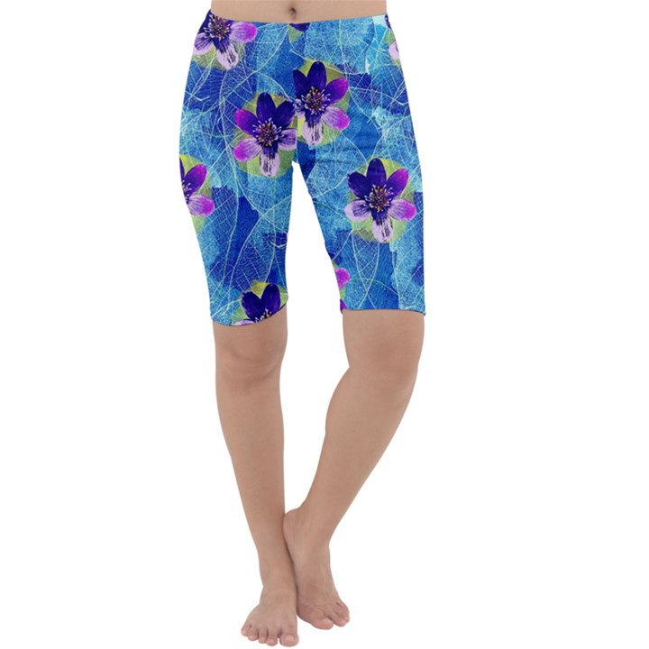 Purple Flowers Cropped Leggings