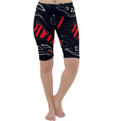 Black and red artistic abstraction Cropped Leggings