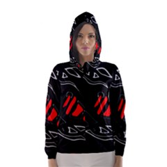 Black and red artistic abstraction Hooded Wind Breaker (Women)