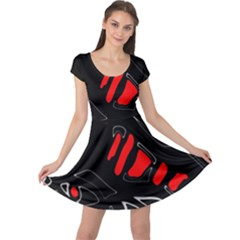 Black and red artistic abstraction Cap Sleeve Dresses
