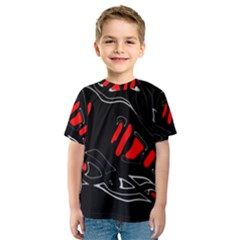 Black and red artistic abstraction Kid s Sport Mesh Tee