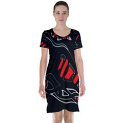 Black and red artistic abstraction Short Sleeve Nightdress
