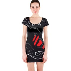 Black And Red Artistic Abstraction Short Sleeve Bodycon Dress