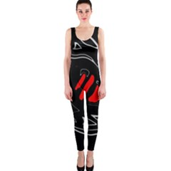 Black and red artistic abstraction OnePiece Catsuit