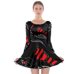 Black and red artistic abstraction Long Sleeve Skater Dress