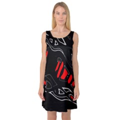 Black and red artistic abstraction Sleeveless Satin Nightdress