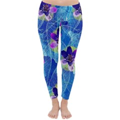 Purple Flowers Winter Leggings