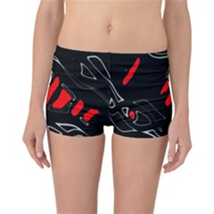 Black and red artistic abstraction Reversible Boyleg Bikini Bottoms