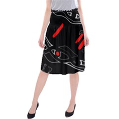Black and red artistic abstraction Midi Beach Skirt