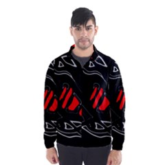Black and red artistic abstraction Wind Breaker (Men)