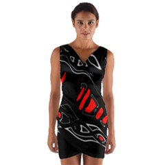Black And Red Artistic Abstraction Wrap Front Bodycon Dress