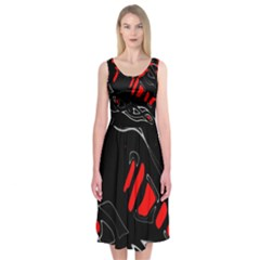 Black And Red Artistic Abstraction Midi Sleeveless Dress