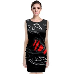 Black And Red Artistic Abstraction Classic Sleeveless Midi Dress