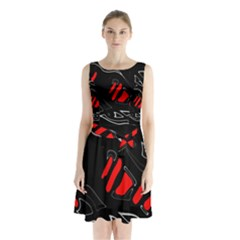 Black and red artistic abstraction Sleeveless Waist Tie Dress
