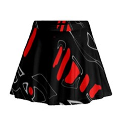 Black and red artistic abstraction Mini Flare Skirt