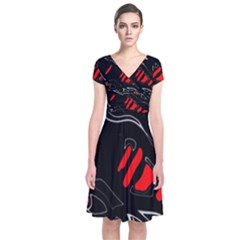 Black and red artistic abstraction Short Sleeve Front Wrap Dress