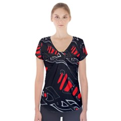 Black and red artistic abstraction Short Sleeve Front Detail Top