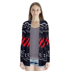 Black and red artistic abstraction Drape Collar Cardigan