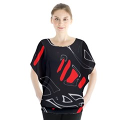 Black and red artistic abstraction Blouse