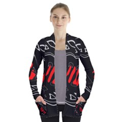 Black and red artistic abstraction Women s Open Front Pockets Cardigan(P194)