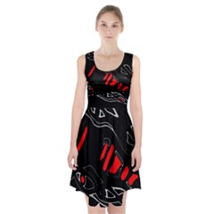 Black and red artistic abstraction Racerback Midi Dress