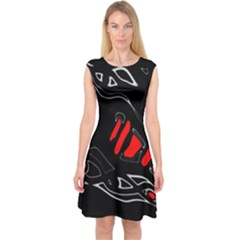 Black and red artistic abstraction Capsleeve Midi Dress