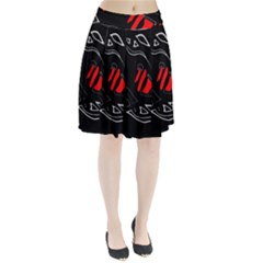 Black and red artistic abstraction Pleated Skirt