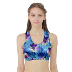 Purple Flowers Sports Bra With Border