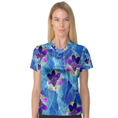 Purple Flowers Women s V-Neck Sport Mesh Tee